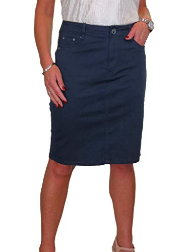 Women's Stretch Chino Sheen Pencil Skirt Ladies Jeans Style Knee Length Navy Blue 10-22 (12)