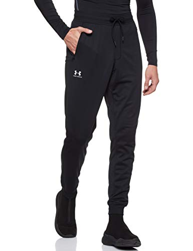 Under Armour Sportstyle Tricot Jogger, Warm and Comfortable Fleece Tracksuit Bottoms, Jogger Bottoms with Pockets Men, Black / White, L