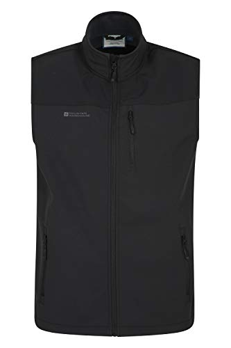Mountain Warehouse Grasmere Mens Gilet - Lightweight Body Warmer, Water Resistant Outdoor Jacket, Breathable Running Vest Gilet, Pockets - for Cycling & Hiking Black M