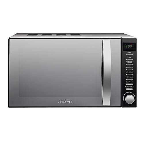 VYTRONIX 800W Digital Microwave Oven 20L Capacity, Auto Defrost, 5 Power Levels, Clock & Timer Function, Freestanding, Easy Clean Solo Black with Stylish Mirror Finish Door