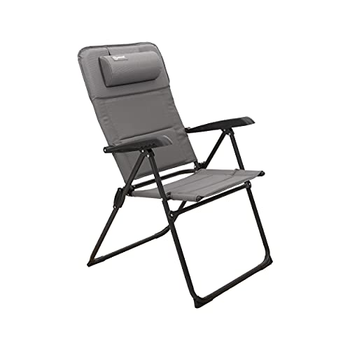 Homecall Folding garden camping chair with textilene padded with quick dry foam grey backrest adjustable