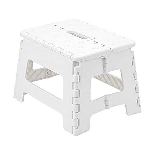 Taylor & Brown Multi-Purpose Anti-Slip Folding Plastic Step Stool, 9 inch 22cm Height Compact Foldable Stool For Kids & Adults, Kitchen Garden Bathroom Collapsible Stepping Stool (White)