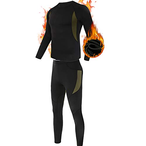 MEETYOO Men's Thermal Underwear Set, Wicking Long Johns Quick Dry Base Layer Sport Compression Suit for Workout Skiing Running Hiking,Black,M