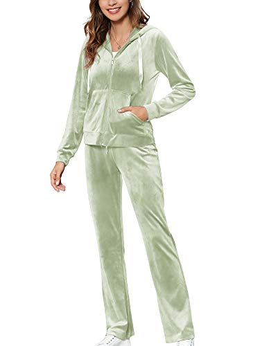 MessBebe Womens Tracksuit Set Velour Loungewear Ladies Sports Outfits 2 Piece Long Sleeve Hoodie Pants Casual Workout Sweatsuits GREEN L