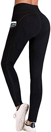 IUGA Yoga Pants with Pockets, Tummy Control, Workout Running Leggings with Pockets for Women, Black I840, M