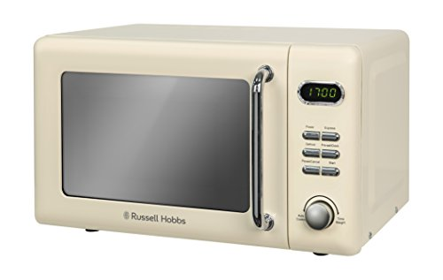 Russell Hobbs RHRETMD706C 17 L 700 W Cream Compact Retro Solo Digital Microwave with 5 Power Levels, 8 Auto Cook Menus, Clock and Timer, Defrost Setting, Easy Clean