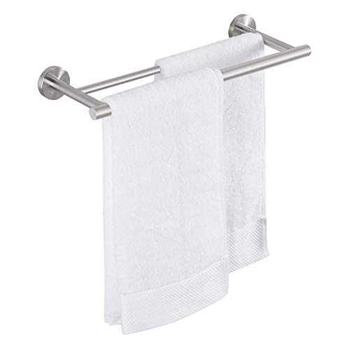 Amazon Brand - Umi Double Towel Rail Bar Holder 16 Inch 40 cm Bathroom Kitchen Towel Rod SUS 304 Stainless Steel Brushed Wall Mount, A2001S40-2