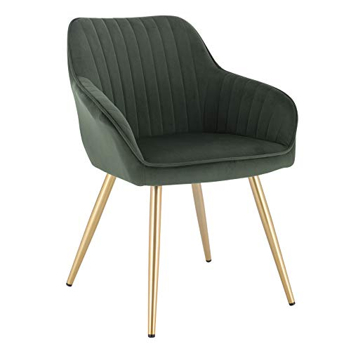 Lestarain Upholstered Dining Chairs, 1 Piece Armchair Kitchen Chair Velvet Seat Gold Metal Legs Reception Chairs with Backrest Soft Cushion - Dark Green