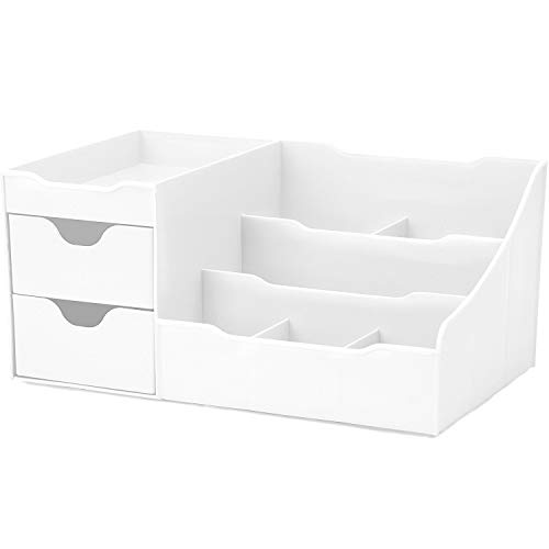 UNCLUTTERED DESIGNS Makeup Organizer With Drawers — Chic Countertop Storage for Cosmetics — Elegant Vanity Holder for Brushes, Eyeshadow, Lotions, Lipstick, Nail Polish and Jewelry (White)