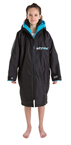 Dryrobe Advance LONG SLEEVE Change Robe - Stay Warm and Dry - Windproof Waterproof Oversized Poncho Coat - Swimming/Surfing/OCR Events (Medium - Black/Blue)