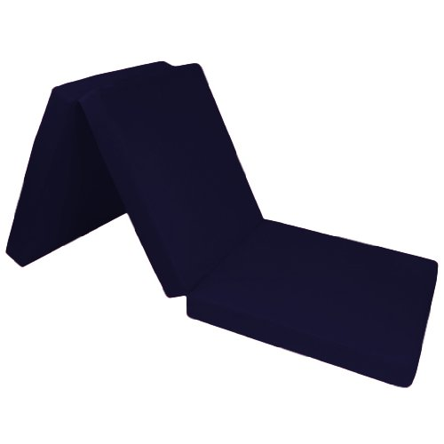 Comfortable 100% Cotton Single Fold Out Cube Bed Chair Stool Pouffe Futon in Navy Blue. Soft, Comfortable & Lightweight with a Removeable Cover. Available in 12 Colours.