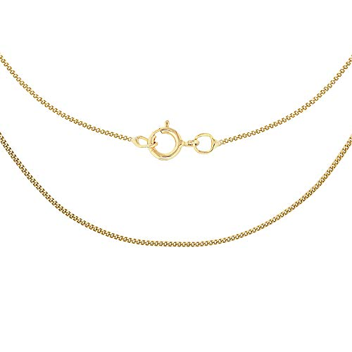 Carissima Gold Women's 9 ct Yellow Gold 0.6 mm Diamond Cut Curb Chain Necklace of Length 46 cm/18 Inch