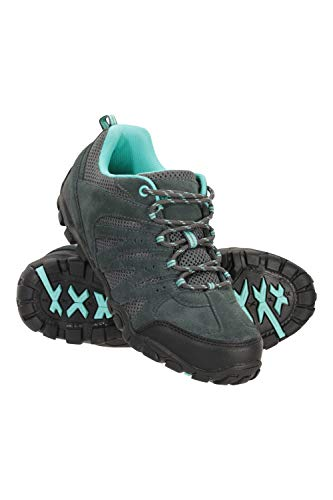 Mountain Warehouse Outdoor Womens Hiking Shoes - Suede & Mesh Upper, Mesh Lined Trainers - for Walking Petrol Blue Womens Shoe Size 6 UK