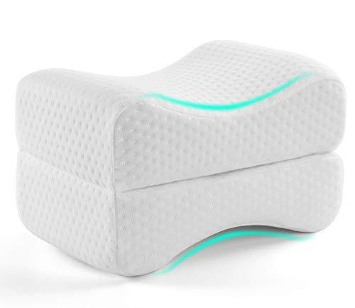 AMERIERGO Memory Foam Knee Pillow for Back, Hip, Leg and Knee Pain Relief & Suitable for Side Sleepers, Pregnant Women… (25 x 18 x 15cm)