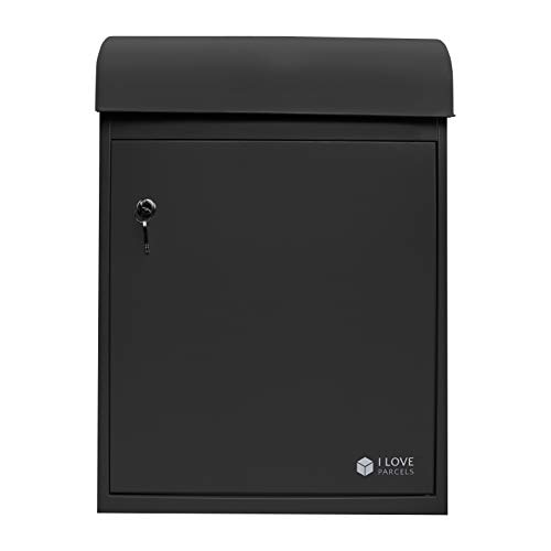 iLoveParcels Parcel Drop Box | Waterproof Lockable Safe Secure Delivery Box | Receive Incoming Deliveries When Nobody is Home | 60cm x 42.5cm x 32.5cm | Mailbox Postbox Letterbox (Black)