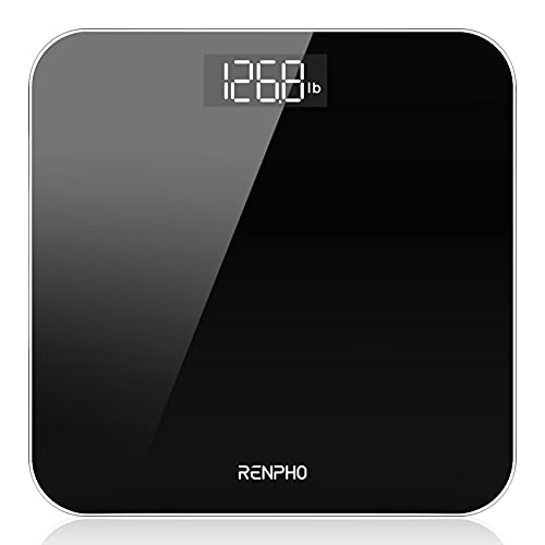 RENPHO Digital Bathroom Scales Weighing Scale with High Precision Sensors Body Weight Scale (Stone/lb/kg) - Black