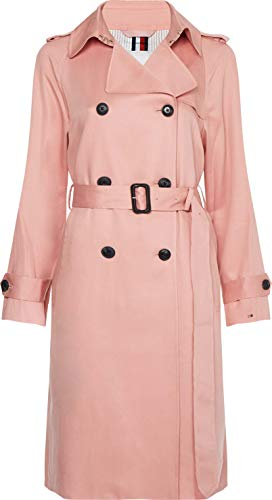 Tommy Hilfiger Women's DB LYOCELL FLUID TRENCH Trenchcoat, Soothing Pink, 36