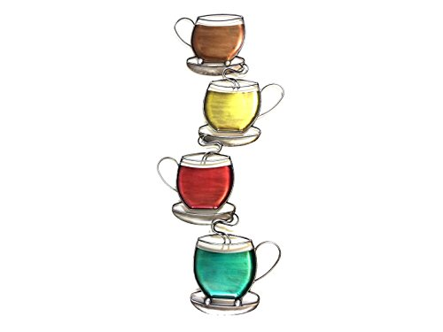 New - Contemporary Metal Wall Art Decor Sculpture - Colour Coffee Tea Cup Tower