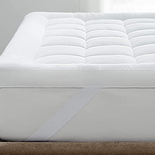 Bedsure Mattress Topper Double - Washable Quilted Mattress Cover Overfilled Mattress Protector, 135×190cm
