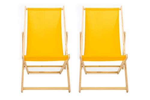 LazyStuff reclining sun lounger   set of 2 yellow READY TO USE   wooden deck chairs   summer beach sun bed   garden seating   adjustable traditional folding deck chair