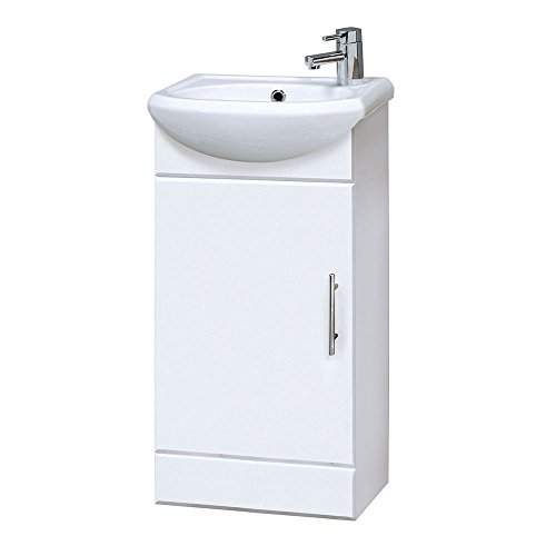 Nuie NVS100 Mayford   Modern Bathroom Floor Standing 1 Door Cloakroom Vanity Unit with 1 Tap Hole Basin, 420mm x 780mm, Gloss White, 420mm290mm, Set of 2 Pieces