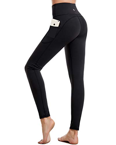 CAMBIVO Yoga Pants for Women, Gym Leggings Workout Leggings with Pockets, High Waisted Women Sports Running Tights Black