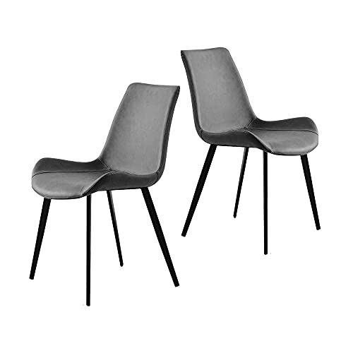 Set of 2 Dining Chairs Matte PU Saddle Leather Upholstered Accent Chairs Mid Century Modern Chairs Metal Chairs for Kitchen, Dining, Bedroom, Living Room Side Chairs (Grey)