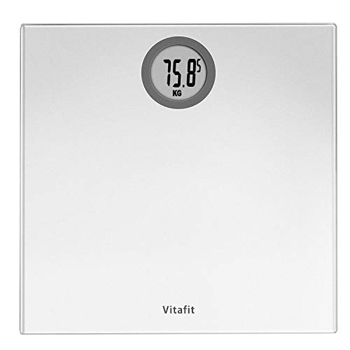 Vitafit Digital Bathroom Scales Weighing Scales with Step-On Technology, LCD Display(Stone/kgs/lbs),Tempered Glass Silver