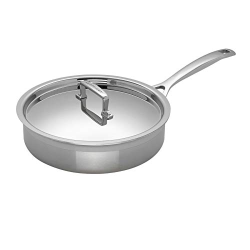Le Creuset 3-Ply Stainless Steel Sauté pan with Lid, 24 x 6.5 cm