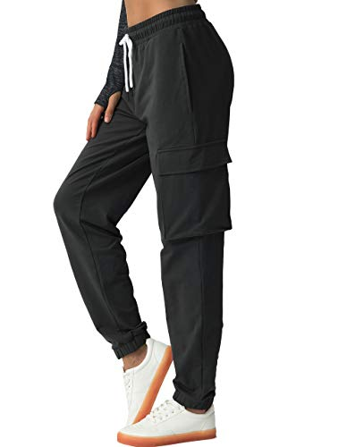 SPECIALMAGIC Women's Sweatpants Cargo Joggers Running Pants Workout Lounge Pants Active Wear with Pockets Casual Athletic Loungewear Black S