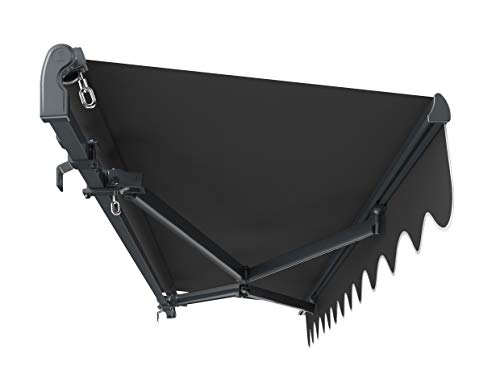 Primrose 4m x 3m Standard Manual Charcoal Cassette Patio Awning Complete with Fixings and Winder Handle (Charcoal)