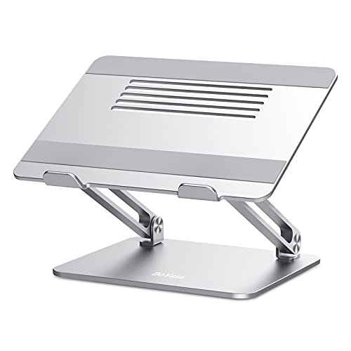 BoYata Laptop Stand, Multi-Angle Laptop Riser with Heat-Vent, Adjustable Notebook Stand Compatible for Laptop (11-17 inches) including MacBook Pro/Air, Lenovo, Samsung, HP -Silver