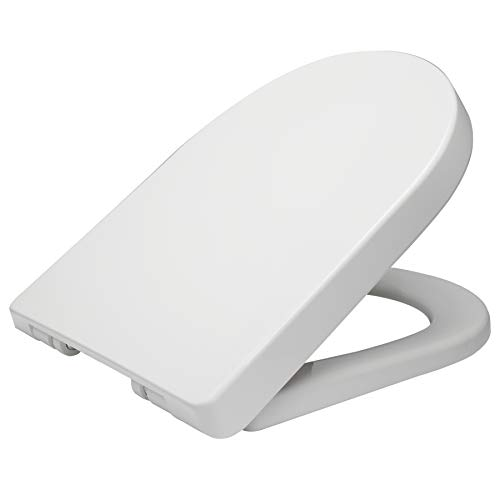 WOLTU D Shape White Toilet Seat, Soft Close Adjustable Hinge Quick Release High Quality Top Fixed Toilet Seat Cover Bathroom Lid WS2544