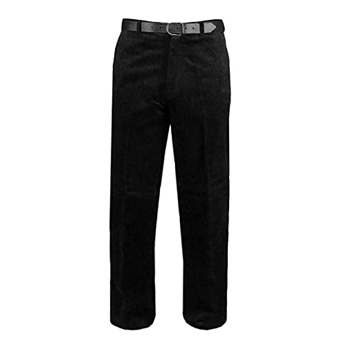 MyShoeStore Mens Cord Trousers Formal Office Smart Cotton Corduroy Trouser Casual Classic Dress Pants with Pockets (Black, 36/31)