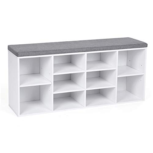 VASAGLE Shoe Bench, Shoe Shelf, Shoe Rack, Storage Cabinet, 10 Compartments, with Cushion, for Entryway, 104 x 30 x 48 cm, White LHS10WT