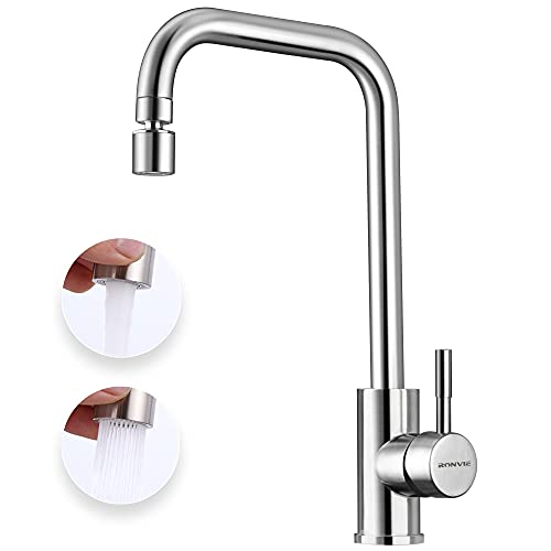 Ronvie Kitchen Sink Mixer Tap with Twist Dual Function Kitchen Aerator, 360 Degree Swivel Spout Stainless Steel Kitchen Faucet, UK Standard Fittings (Type L)