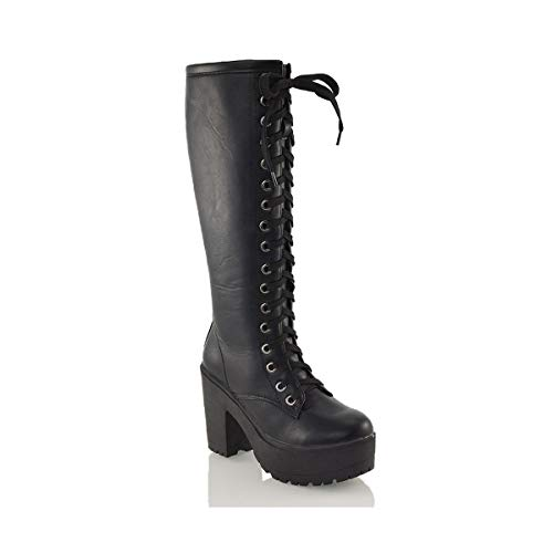 Womens Lace Up Mid Knee High Boots Ladies Cleated Chunky Block Platform Goth Combat Biker Lace Up Black Boots Size 3-8