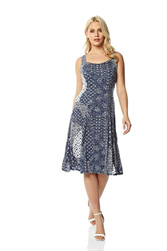 Roman Originals Fit & Flare Dress - Ladies Patchwork Geometric Tropical Floral Print Skater Stretch Jersey Swing Smart Strappy Flattering Casual Summer Sleeveless Knee Length - Blue - Size 18