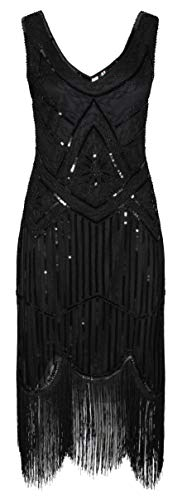 Ro Rox Great Gatsby 1920's Cocktail Party Sequin Tassel Flapper Dress - Black (UK 12)