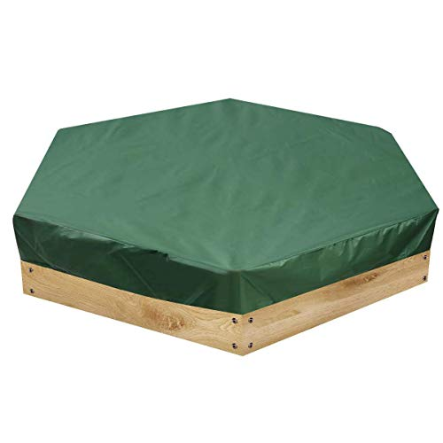 Qinhum Sandpit Cover, Hexagonal Sandpit Cover Waterproof Dust-proof Sandbox Pool Cover with Drawstring for Garden Outdoor Patio 175cm