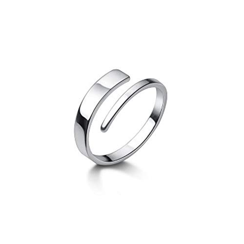 Two Row Minimalist Open Eternity Promise Rings 925 Sterling Silver for Women Girls Men Adjustable Simple Statement Stacking Engagement Ring Finger Band Cute Jewelry Gifts
