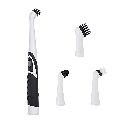 WDEC Household Cleaning Brush, Electric Cleaning Brush Oscillating Cleaning Tool, Power Sonic Cleaning Scrubber Cordless with 4 Heads, for Bathroom Household Tub Tile Floor Wall Kitchen (Black)