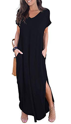 GRECERELLE Women Summer Maxi Casual Long Dress Loose Short Sleeve Floral Print Maxi Dresses with Pocket - Black