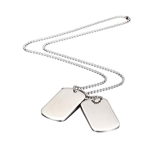 MicVivien Army Style Double Dog Tag Pendant Mens Necklace, Biker 70cm Ball Chain