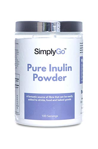 SimplyGo Pure Inulin Powder | 500g | 100 Servings | Great Source of Soluble Dietary Fibre | Prebiotic Supplement | Vegan Friendly | Resealable Tub for Ease