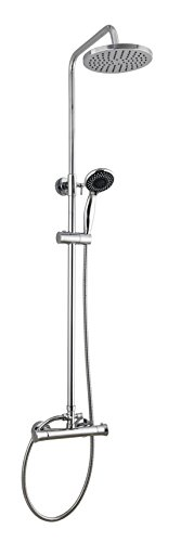 Round Thermostatic Dual Control Overhead Rain Shower Bar Valve Mixer Kit Chrome with Easy Fit Kit