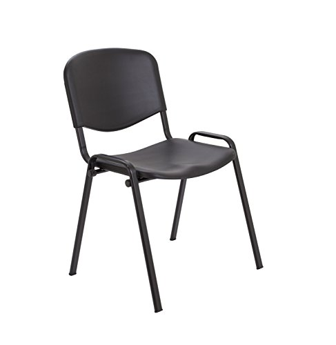 Office Hippo Multi-Purpose Canteen Wipe Clean Stacking Chair, Plastic, Black, 53.5 x 61 x 78 cm