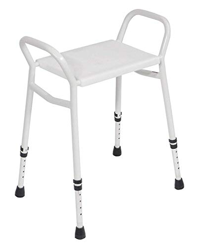 Aidapt High Quality Super Lightweight 1.45KG Aluminium Strood Shower Stool with Clip On/Off Seat. Rust Free and Ideal for Elderly and Less able to Shower with Confidence.