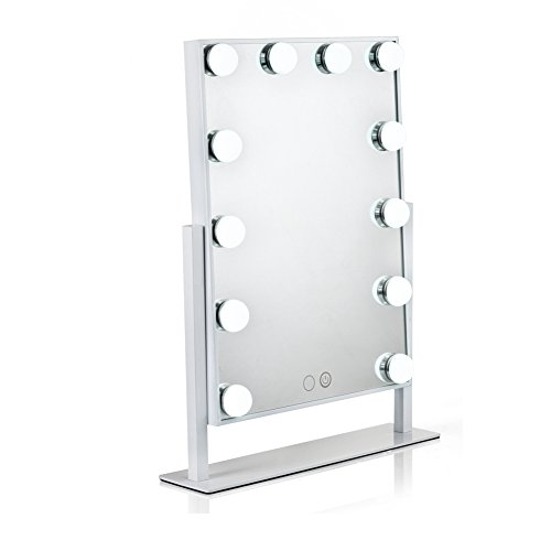 Waneway Hollywood Mirror with Lights for Makeup Dressing Table, Lighted Vanity Mirror with 12 Dimmable LED Bulbs and Plug in Power Supply, White