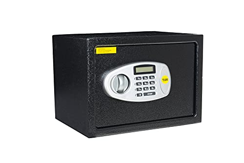 Yale Y-MS0000NFP Medium Digital Safe, Steel Construction, LCD Display, Steel Locking Bolts, Emergency Override Key, Wall And Floor Fixings, 16 Litre Capacity 25 x 35 x 25 cm, Home Office Safe